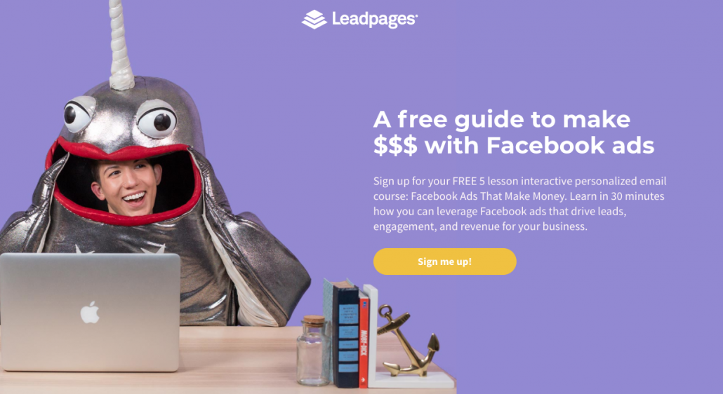 Tap House Media Landing page example with Lead pages